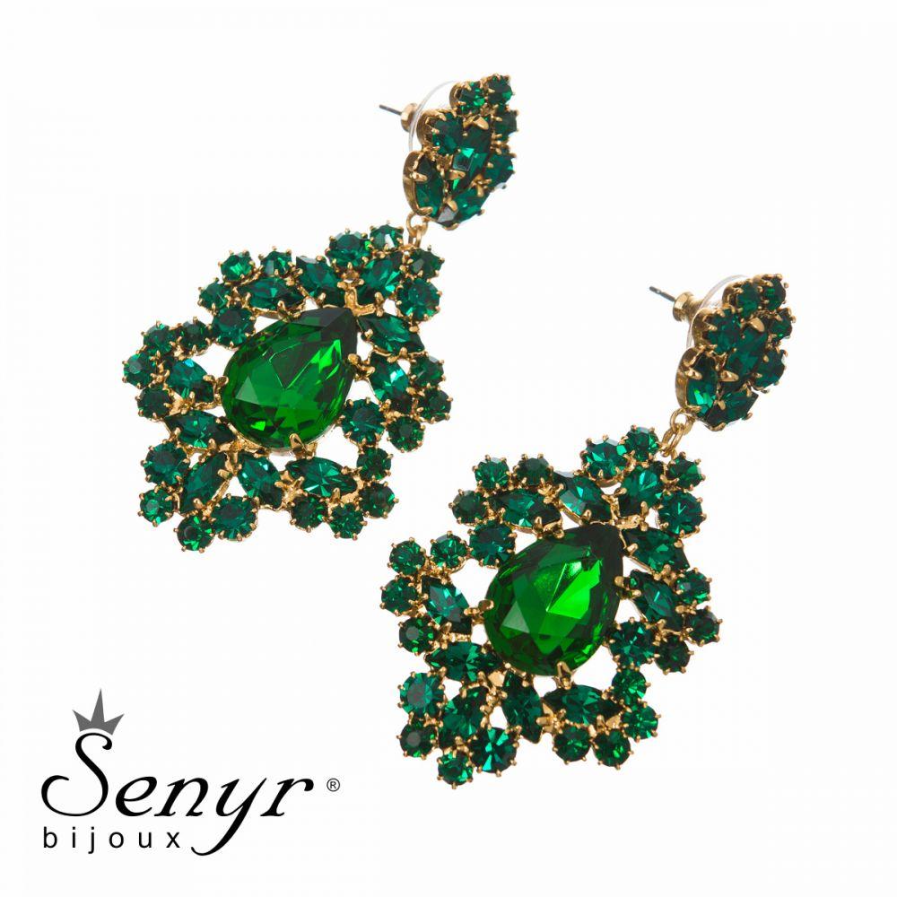 Earrings Elegant Lace Emerald
